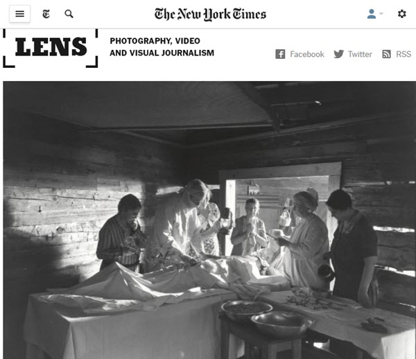 Screen shot of article on Bayard Wootten posted at NYT Lens Blog