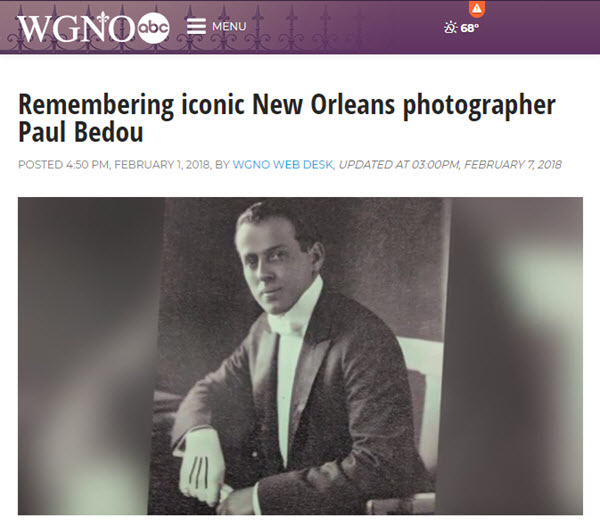 Screenshot of article on photographer Paul Bedou