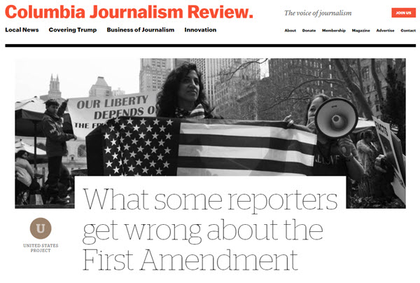 Screenshot of article on first amendment posted at Columbia Journalism Review
