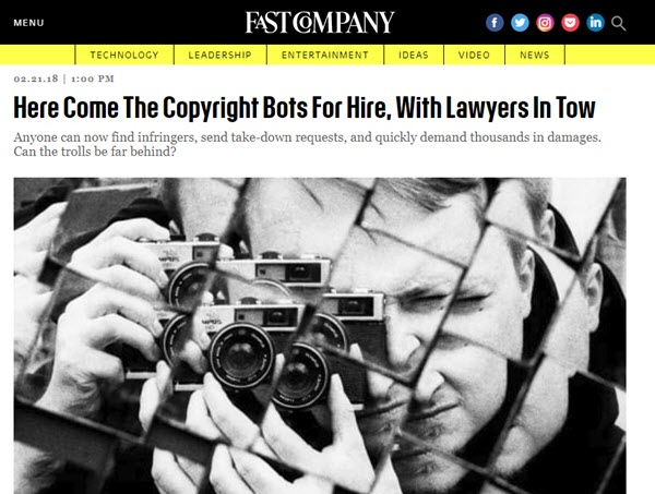 Screenshot of copyright bots posted on Fast Company