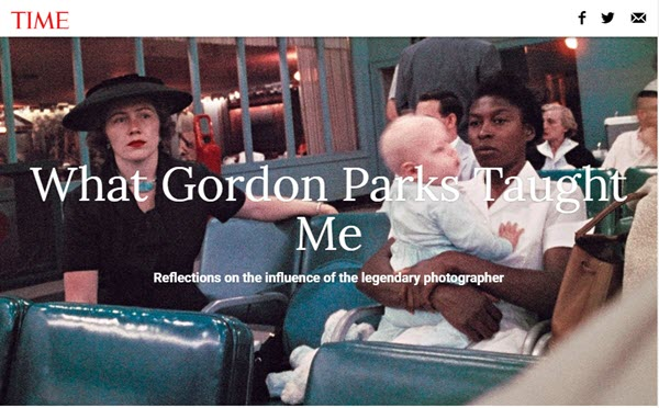 Screenshot of article on Gordon Parks on TIME Magazine