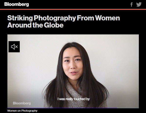 Screenshot of article on women photographers posted on Bloomberg News
