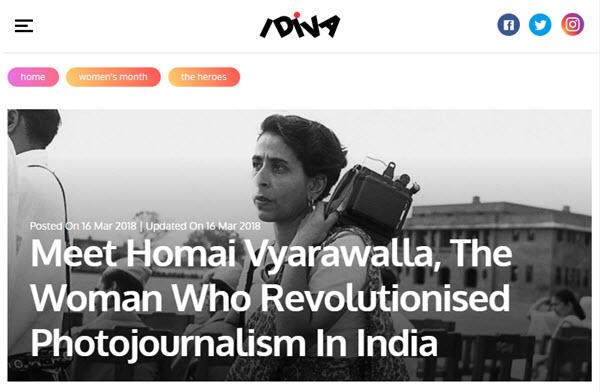 creenshot of article on Homai Vyarawalla posted at iDiva.com