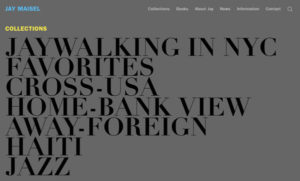 Screenshot of Jay Maisel's web site