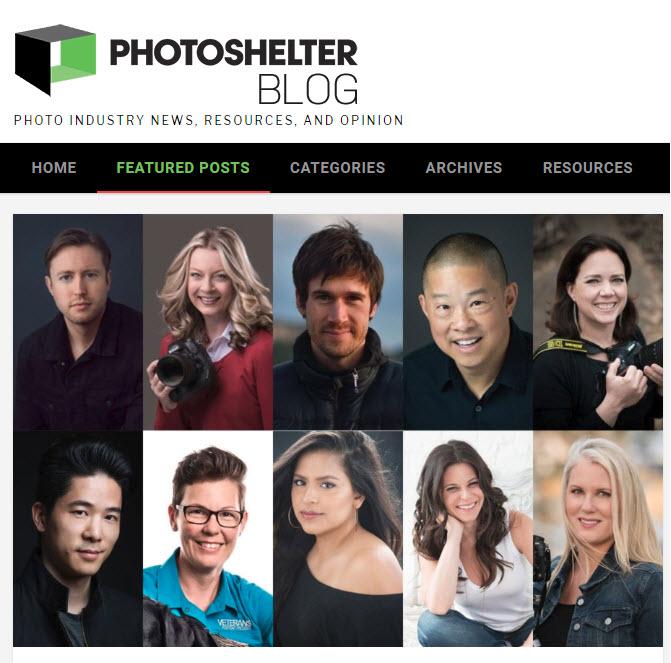 Screenshot if article on Nikon ambassadors posted on Photoshelter Blog