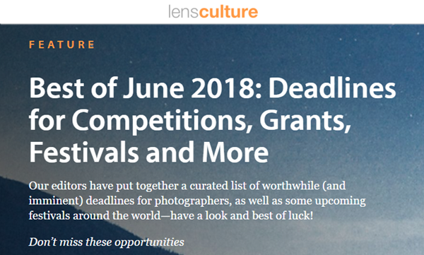 Screenshot of article on feativals, contests and grants posted at LensCulture