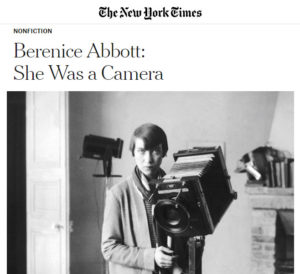 Screenshot of article on Berenice Abbott posted at The New York Times