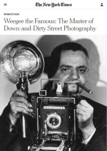 Screenshot of book review on Weegee posted at The New York Times