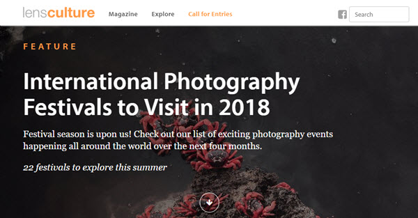 Screenshot of article on International Photography Festivals posted on LensCulture