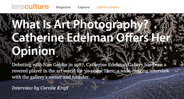 Screenshot of interview with Catherine Edelman posted at LensCulture