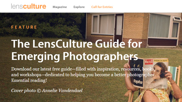Screenshot of guide for emerging photographers article posted at LensCulture