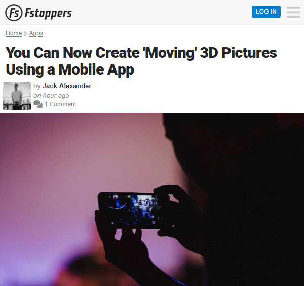 Screenshot of article on 3D pictures posted at Fstoppers