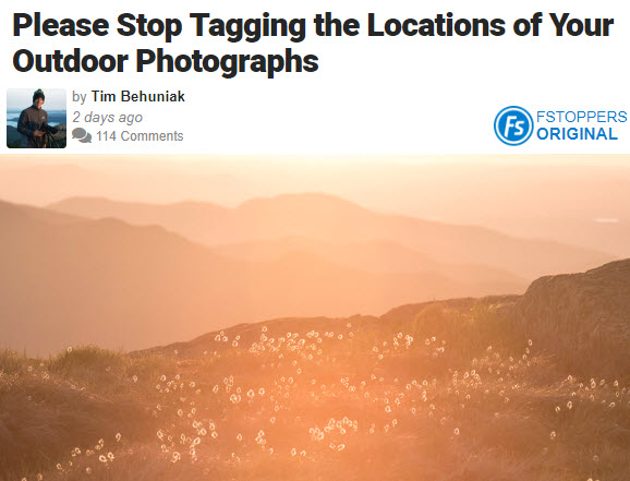 Screenshot of article on tagging posted on Fstoppers