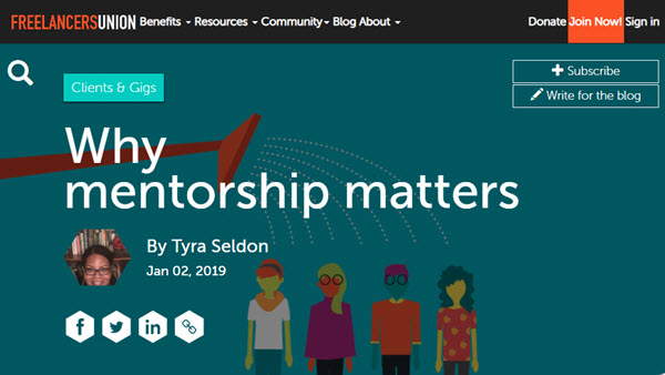 Screenshot of article about mentoring posted at Freelancers Union Blog