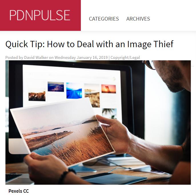 Screenshot of article posted at PDNPulse