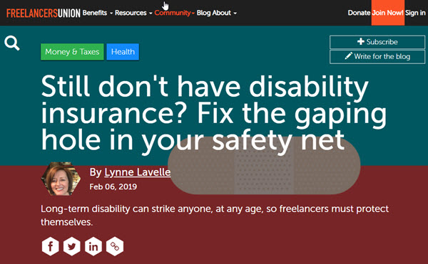 Screenshot of article posted on Freelancers Union Blog