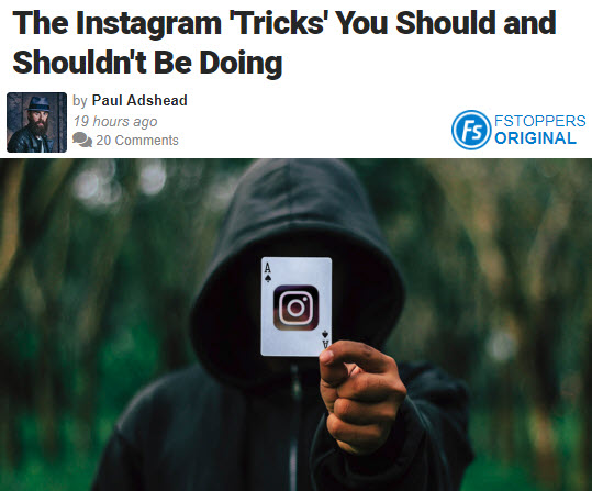 Screenshot of article about Instagram posted on Fstoppers