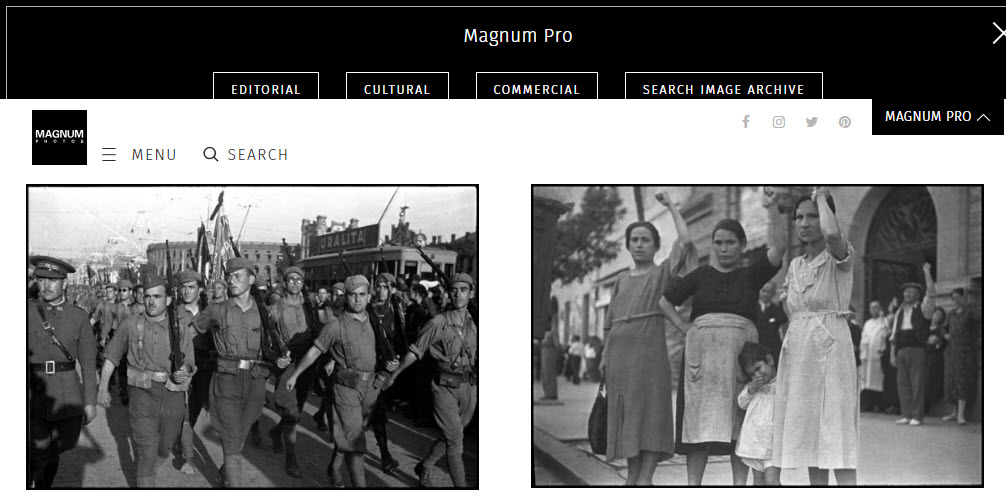Screenshot of article on Gerda Taro posted on Magnum Photos