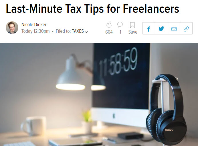 Screenshot of article on taxes posted on Lifehacker