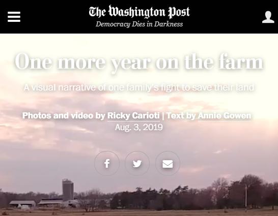 Screenshot of article posted at The Washington Post