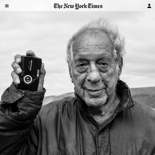 Screenshot of Robert Frank obit posted at The New York Times