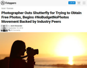 Screenshot of article posted st Fstoppers