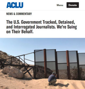 screenshot of article posted on ACLU website