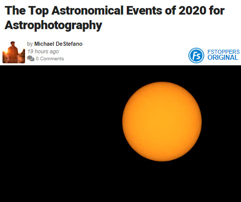 Screenshot of article on astrophotography posted on Fstoppers