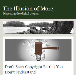 Screenshot of article posted on The Illusion of More