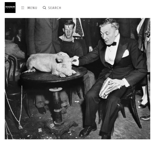 Screenshot of article on Weegee posted at Magnum Photos