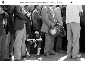 Screenshot of Santu Mofokeng obit posted on The New York Times