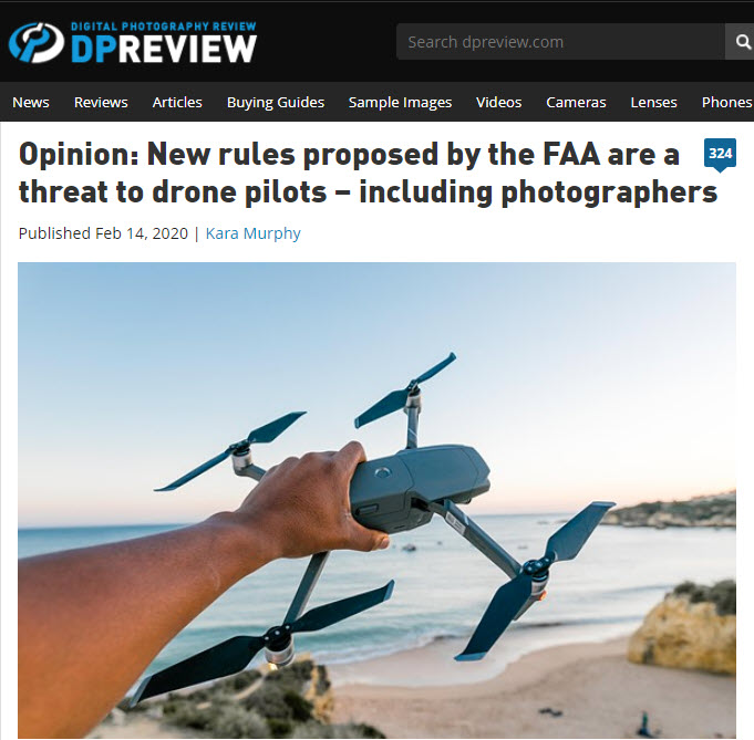 Screenshot of article about drones posted on DPReview