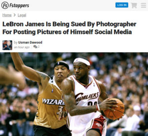 Screenshot of article about LeBron James posted on Fstoppers