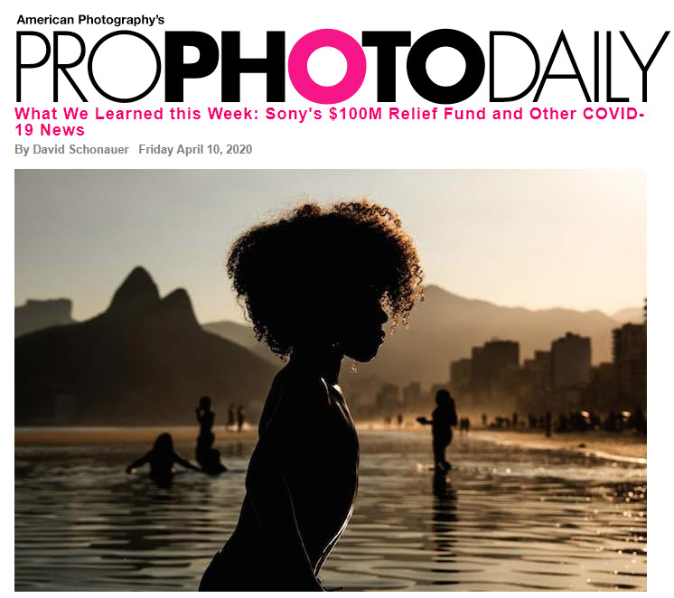 Screenshot of article posted about COVID-19 on Pro Photo Daily