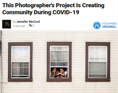 Screenshot of article about COVID-19 posted on Fstoppers