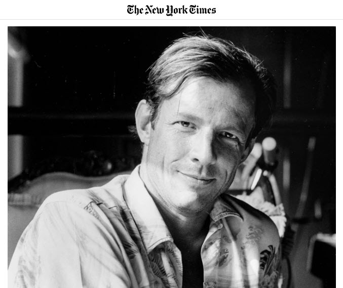 Screenshot of Peter Beard's obituary posted at The New York Times.