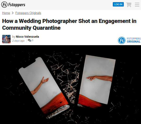 Screenshot of article on wedding photography posted on Fstoppers