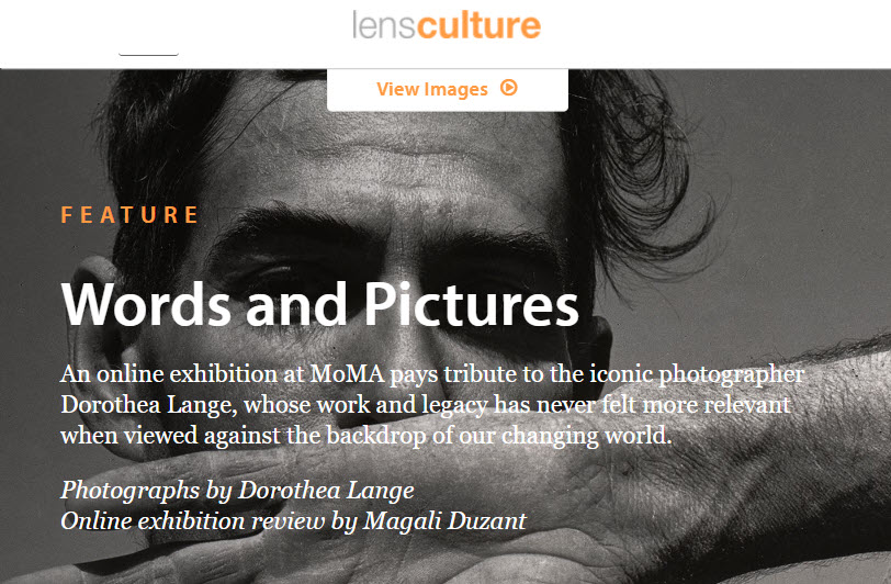 Screenshot of article about Dorothea Lange's exhibition at MoMAposted on LensCulture