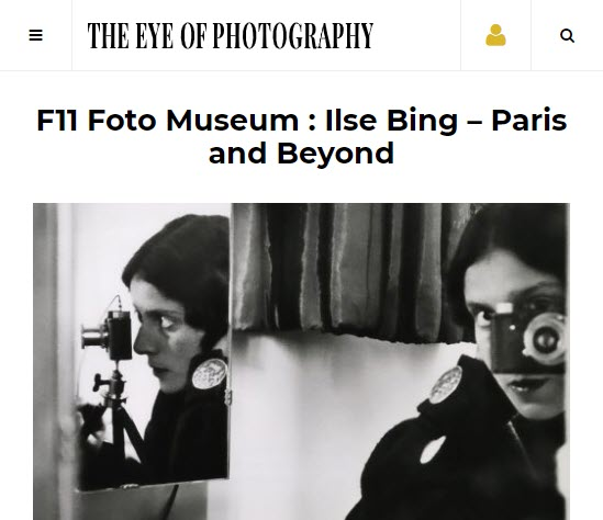 Screenshot of an article about Ilse Bing posted on The Eye of Photography