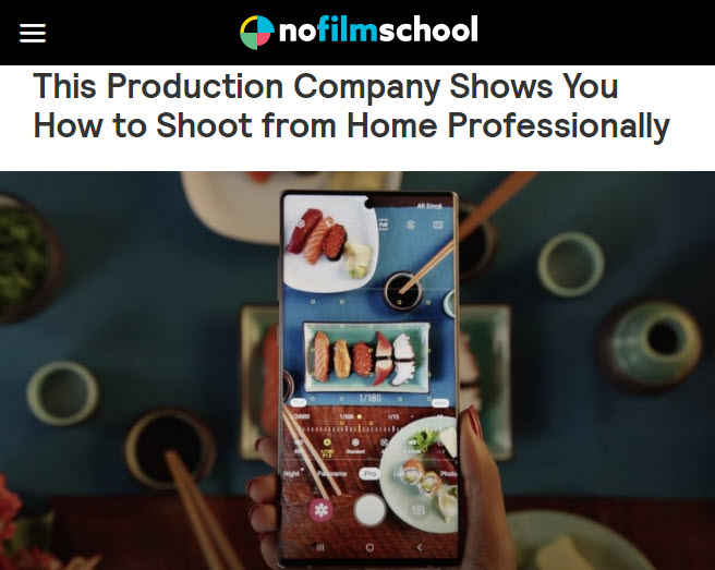Screenshot of article posted on No Film School