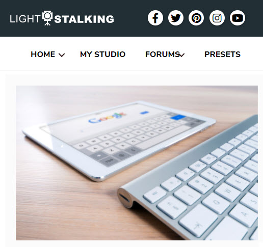 Screenshot of article posted on Light Stalking