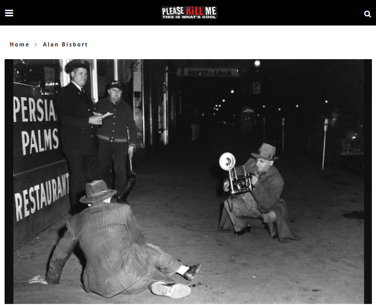 Screenshot of article on Weegee posted on Please Kill Me
