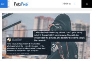 Screenshot of article posted on PetaPixel