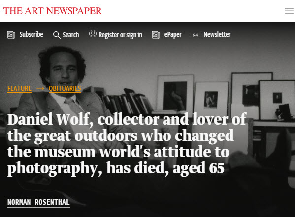 Daniel Wolf, Collector and Lover of the Great Outdoors, Has Died, Aged 65