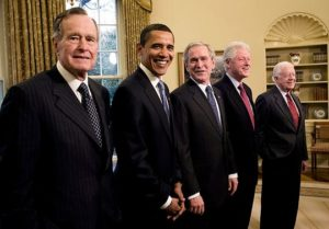 Photo of Former President George H.W. Bush, President-elect Barack Obama, President George W. Bush, former Presidents Bill Clinton and Jimmy Carter by David Hume Kennerly