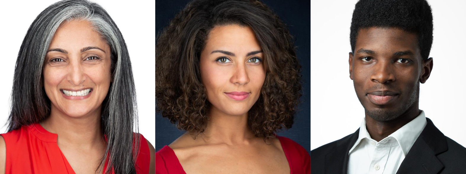 3 headshots people of color