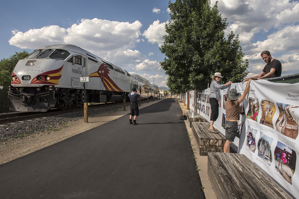 Installing The Fence at the Railyard, Santa Fe