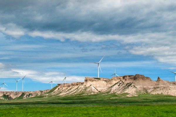 Wind Turbines on Peetz Plateau and a beautiful blue with clouds.