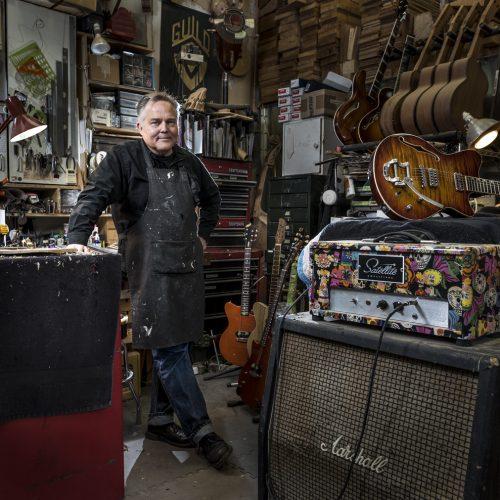 Portrait of Saul Koll in his workshop in Portland, Or.